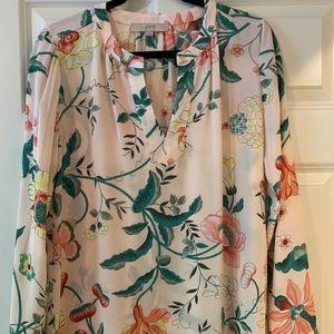 Ann Taylor Loft Long Sleeved Floral Blouse